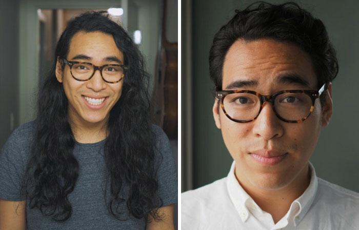 chico con anteojos y sonriendo; 14 Hombres antes y después de cortar su melena