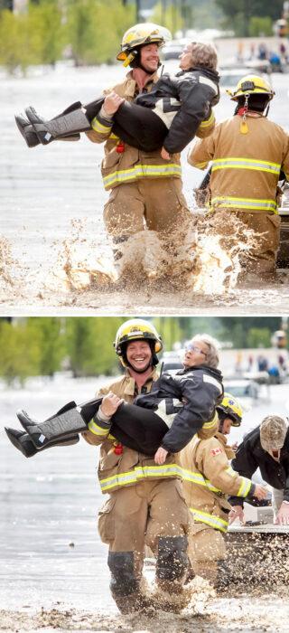 Abuela siendo cargada por bomberos ;16 Abuelitos cuya edad no les impide divertirse al máximo