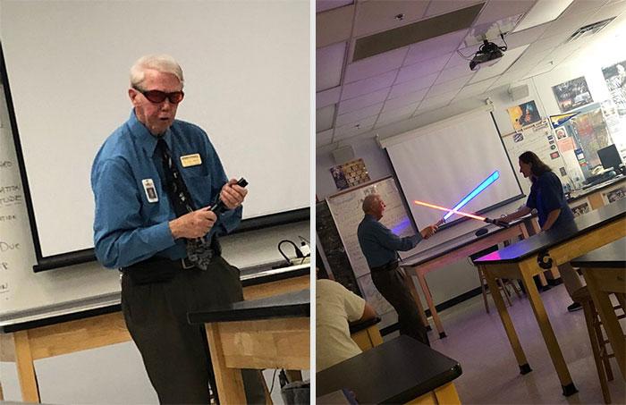 Hombre jugando con luces fluorescentes ;16 Abuelitos cuya edad no les impide divertirse al máximo