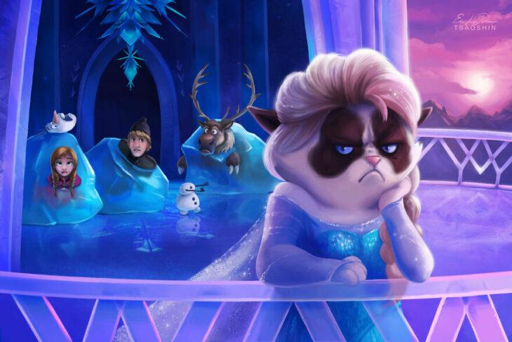 Frozen ;Artista inserta a Grumpy Cat en películas Disney y el resultado es una dosis de alegría