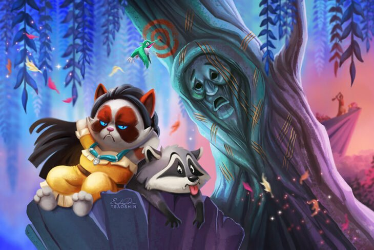 Pocahontas ;Artista inserta a Grumpy Cat en películas Disney y el resultado es una dosis de alegría