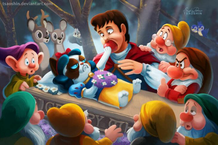 Blancanieves ;Artista inserta a Grumpy Cat en películas Disney y el resultado es una dosis de alegría