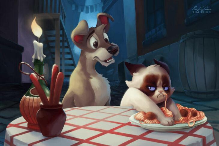 La dama y el vagabundo ;Artista inserta a Grumpy Cat en películas Disney y el resultado es una dosis de alegría