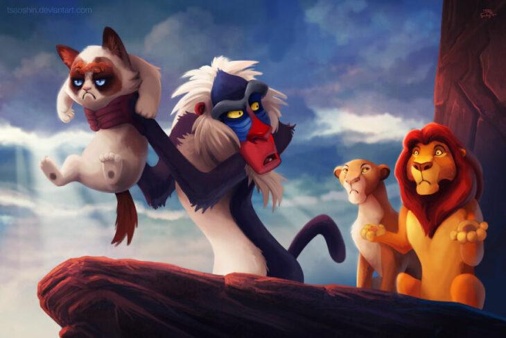 El rey león ;Artista inserta a Grumpy Cat en películas Disney y el resultado es una dosis de alegría