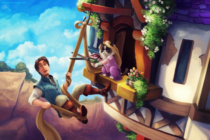 Rapunzel ;Artista inserta a Grumpy Cat en películas Disney y el resultado es una dosis de alegría