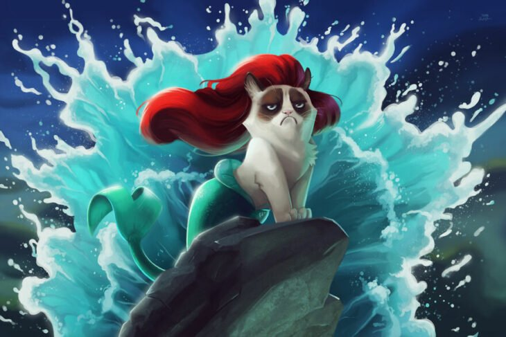 La sirenita ;Artista inserta a Grumpy Cat en películas Disney y el resultado es una dosis de alegría