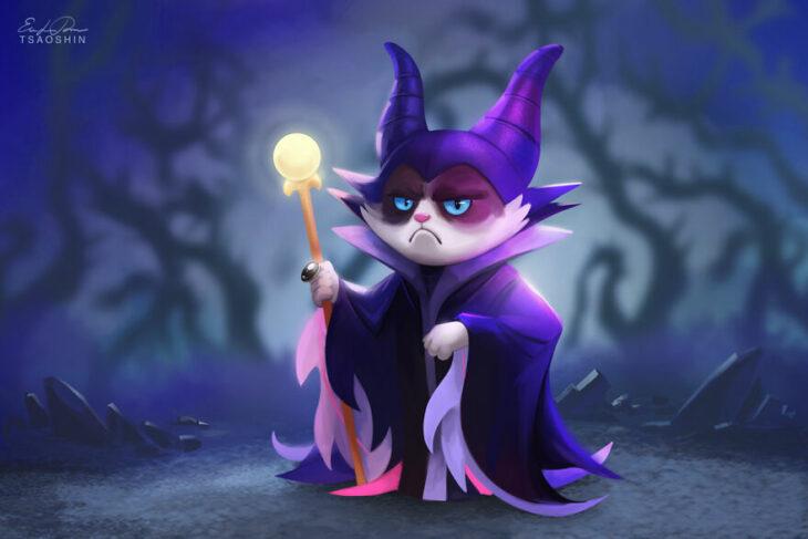 Maléfica ;Artista inserta a Grumpy Cat en películas Disney y el resultado es una dosis de alegría