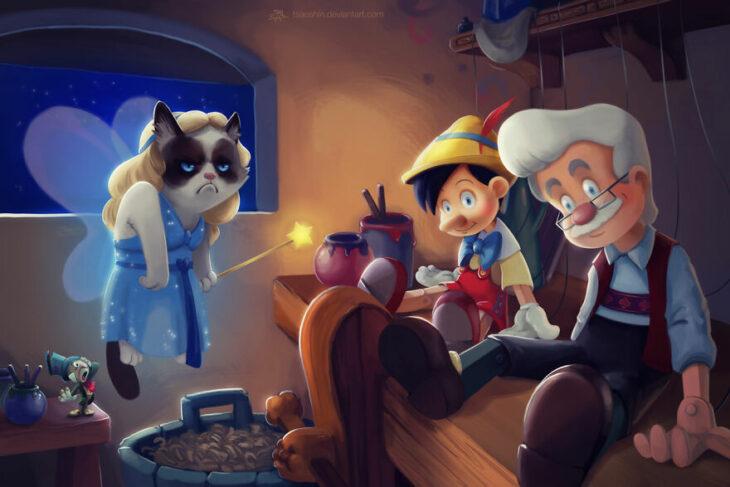 Pinocho ;Artista inserta a Grumpy Cat en películas Disney y el resultado es una dosis de alegría