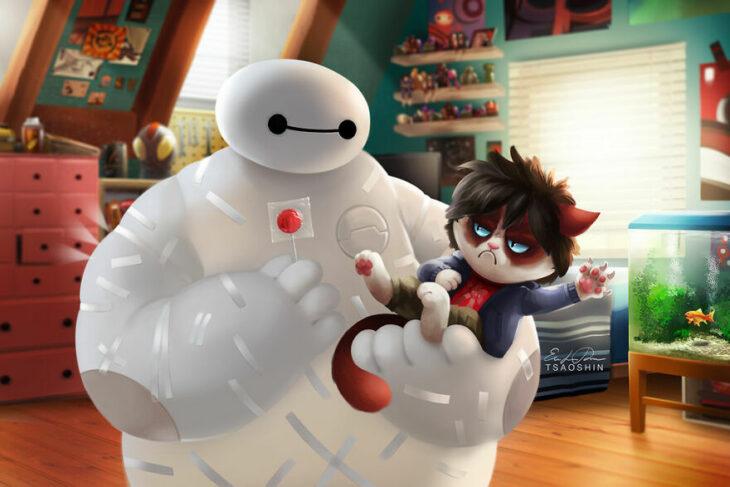 Big Hero ;Artista inserta a Grumpy Cat en películas Disney y el resultado es una dosis de alegría