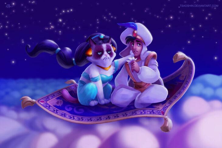 Aladdín ;Artista inserta a Grumpy Cat en películas Disney y el resultado es una dosis de alegría