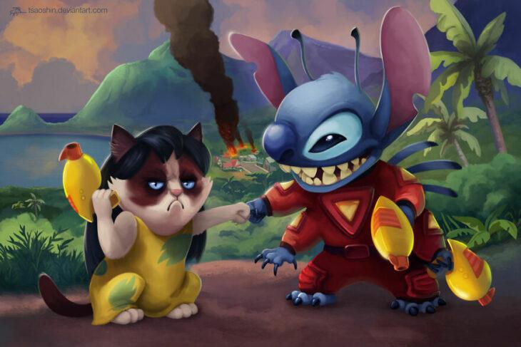 Lilo & Stitch ;Artista inserta a Grumpy Cat en películas Disney y el resultado es una dosis de alegría