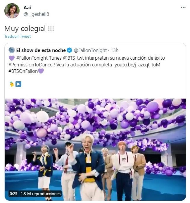 Tuit sobre BTS presenta Permission to dance y hace vibrar a internet