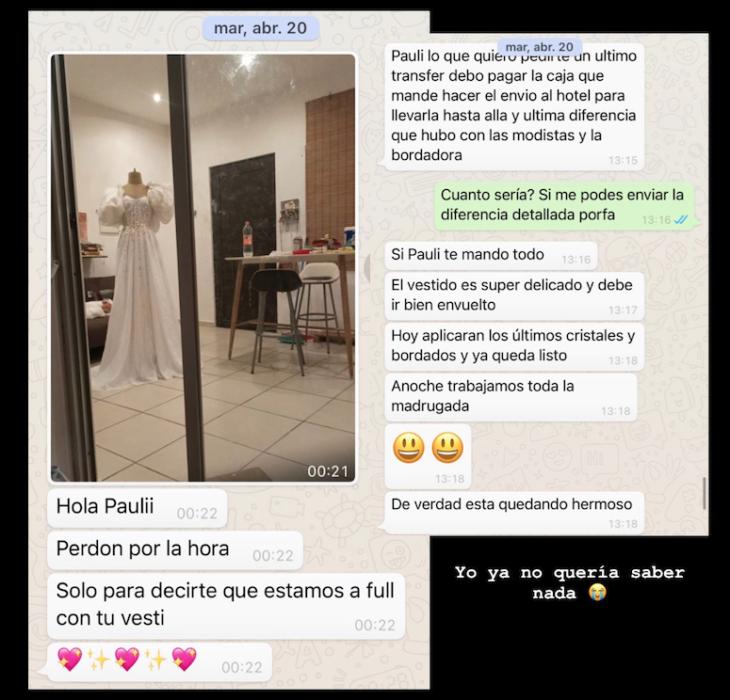 Comentarios de Twitter sobre la estafa de una chica con su vestido de novia