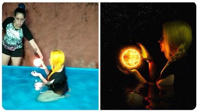 Chica sosteniendo una lampara ;Fotógrafos comparten sus mejores trucos e internet no puede creer el resultado