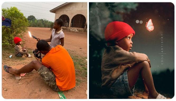 Niño sentado en la tierra ;Fotógrafos comparten sus mejores trucos e internet no puede creer el resultado