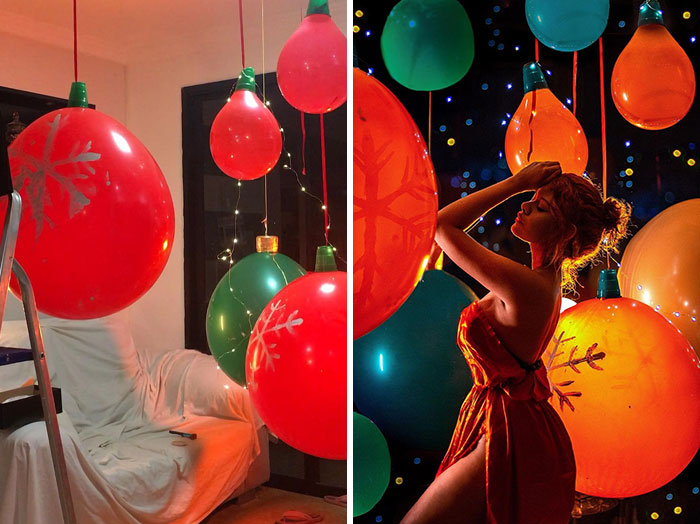 Chica jugando con globos ;Fotógrafos comparten sus mejores trucos e internet no puede creer el resultado