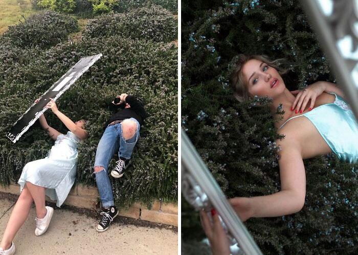 chica sosteniendo un espejo ;Fotógrafos comparten sus mejores trucos e internet no puede creer el resultado