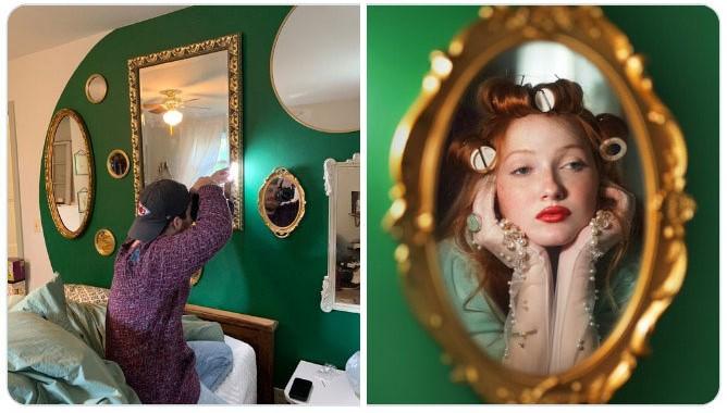 Chica mirándose en el espejo ;Fotógrafos comparten sus mejores trucos e internet no puede creer el resultado