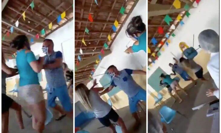 Hombre va con a su amante a vacunarse y se encuentra a su esposa