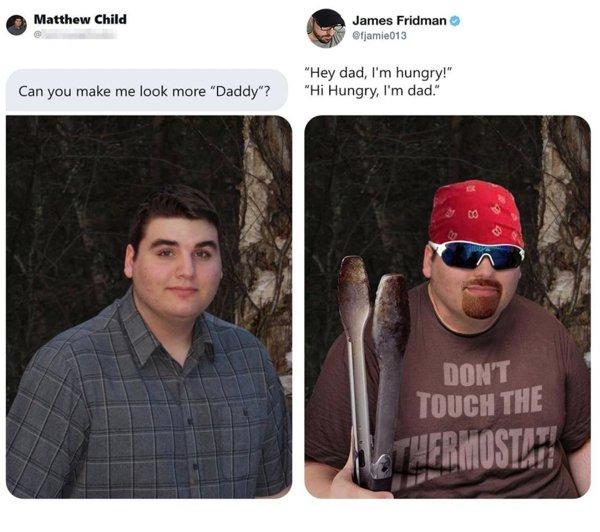 Modificaciones que hizo James Fridman a una fotografía en twitter