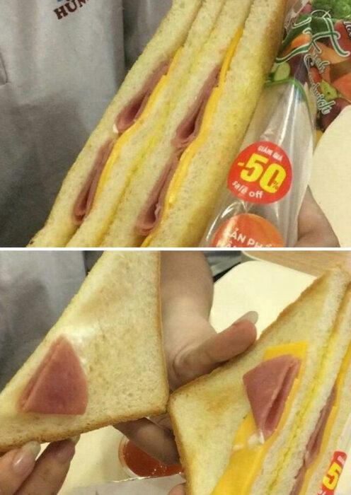 sándwich ;personas que fueron estafadas al comprar comida rápida