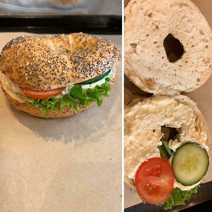 Pan con verduras ;personas que fueron estafadas al comprar comida rápida