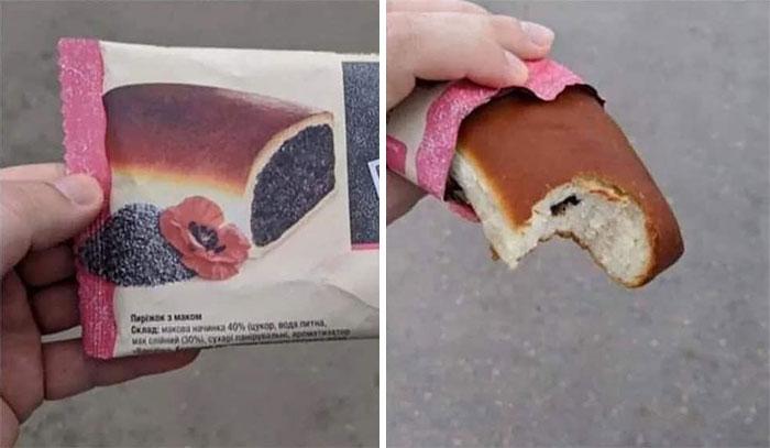 Pan relleno de chocolate ;personas que fueron estafadas al comprar comida rápida