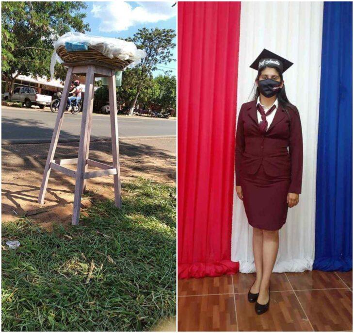 Mujer en su graduación ;Mamá soltera se titula como profesora luego de vender pan y sopa en las calles
