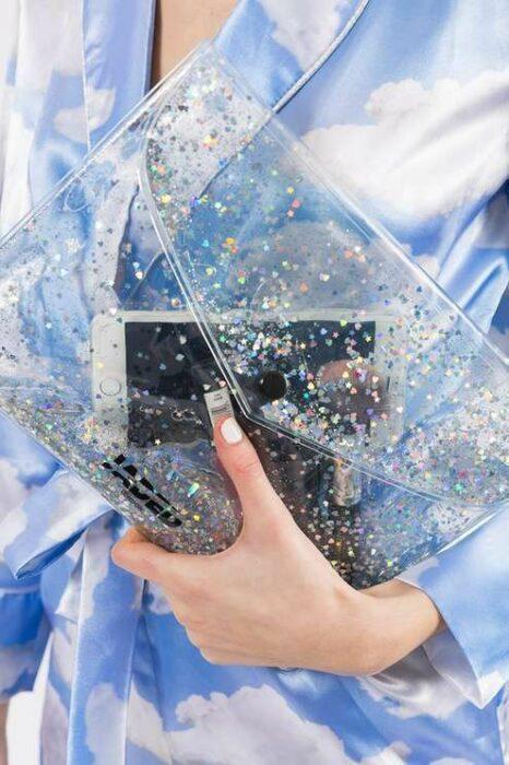 Cartera con glitter ;Monederos transparentes que vas a querer