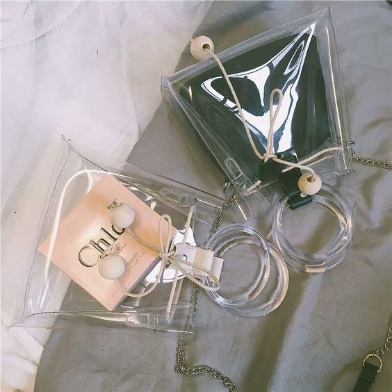 Bolso doble con plástico ;Monederos transparentes que vas a querer