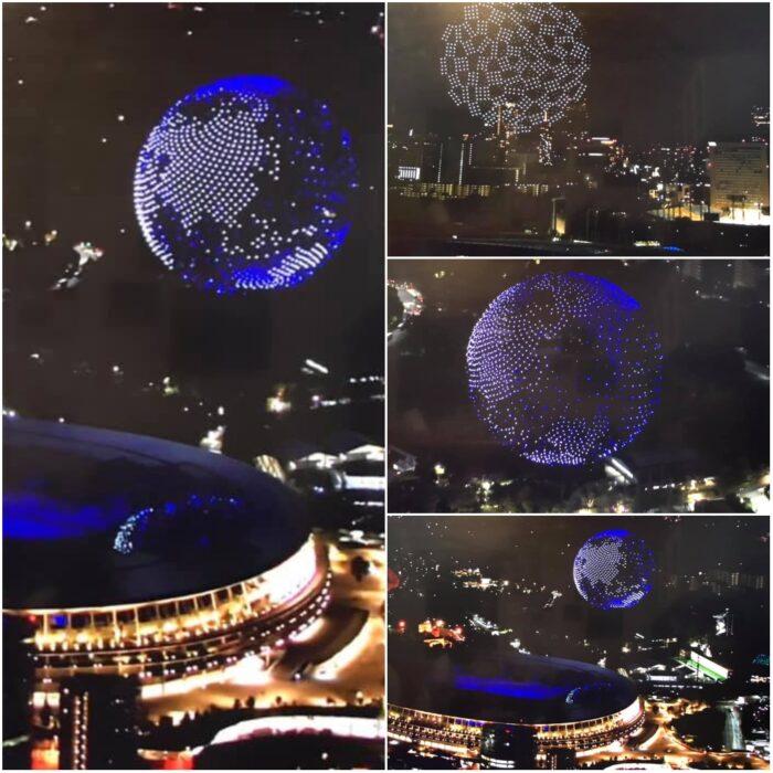 drones en el cielo; Tokio 2020 Así se vive la inauguración de los Juegos Olímpicos (2)