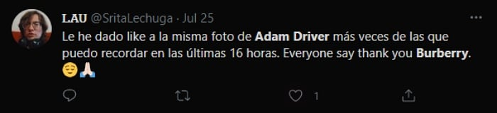 reacciones, memes, comentarios de Adam Driver en comercial de Burberry