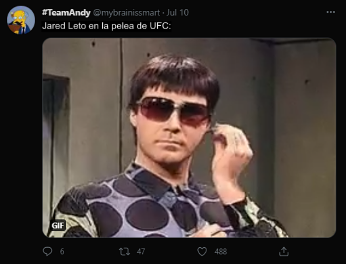 reacciones, opiniones, bromas y memes en twitter sobre Jared Leto en la UFC