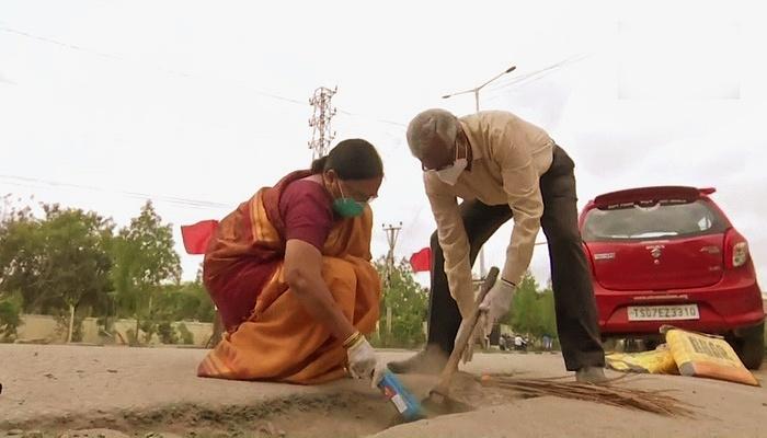 Gangadhar Tilak Katnam y su esposa Venkateshwari Katnam