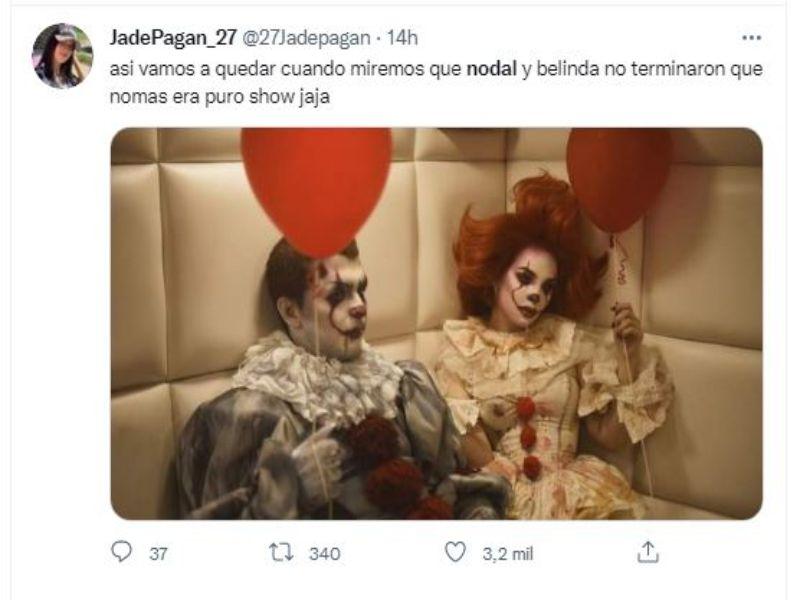 Belinda y Nodal disfrazados ;Belinda y Nodal podrían haber dado fin a su relación y se desatan lo memes en redes