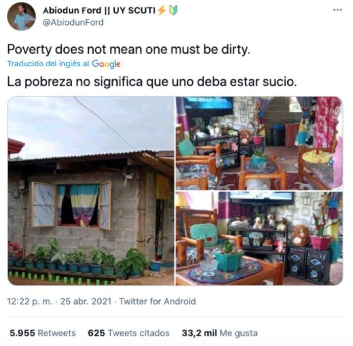 Publicación en Twitter de chica que muestra su hogar humilde