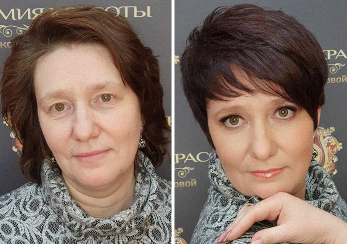 Mujer antes y después de recibir un cambio de imagen