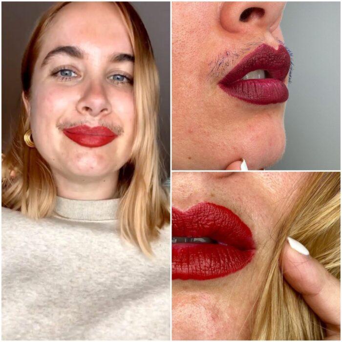 Chica con labial rojo ;Influencer rompe estereotipos al mostrar su bigote al natural y negarse a usar filtros