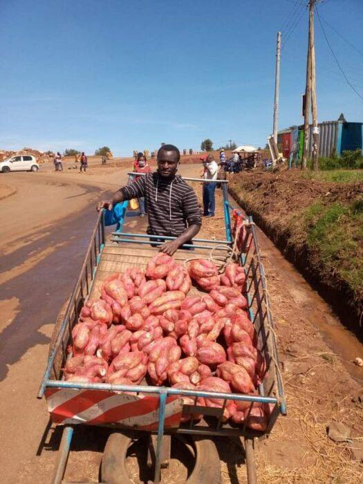 Joven vendiendo frutas en un carrito