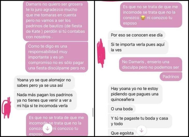 Mensaje 7; Le escribió a una amiga que hace años no veía para pedirle que pague todo el bautizo de su hija