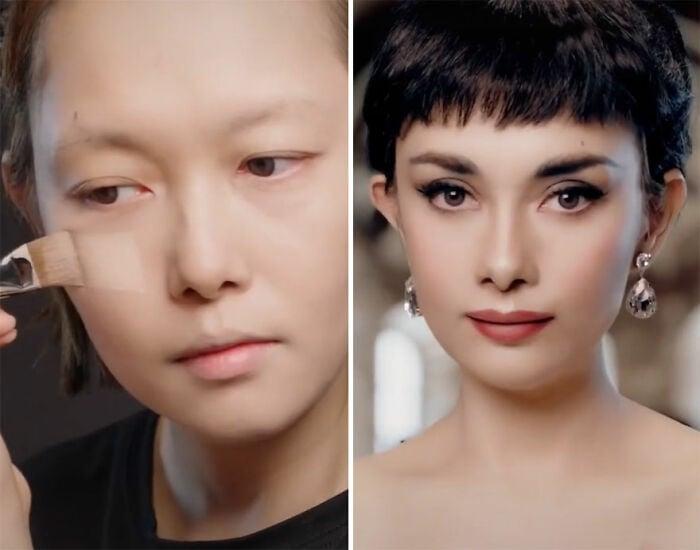 Audrey Hepburn; Maquillista se transforma en celebridades y te hará sentir que ves doble