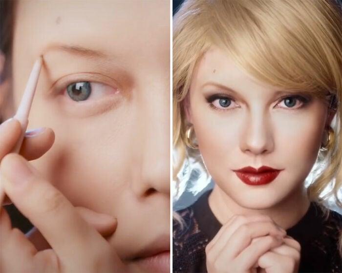 Taylor Swift; Maquillista se transforma en celebridades y te hará sentir que ves doble