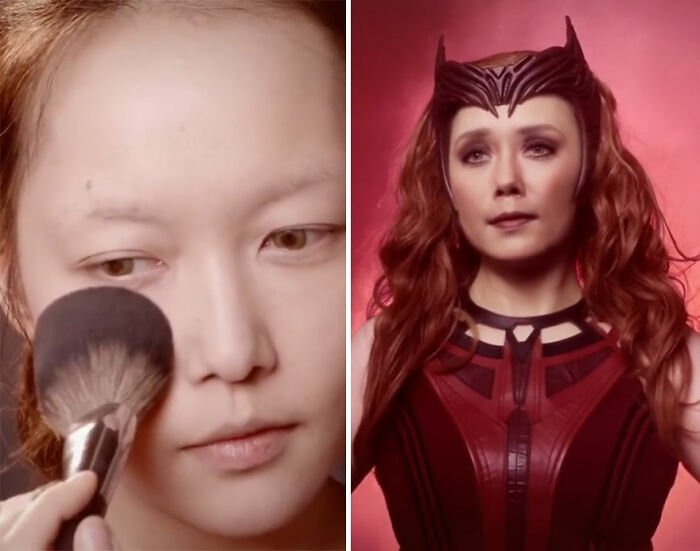 Wanda Maximoff; Maquillista se transforma en celebridades y te hará sentir que ves doble