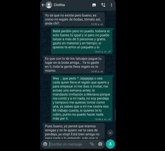 Conversación de Whats app entre una novia y su amiga