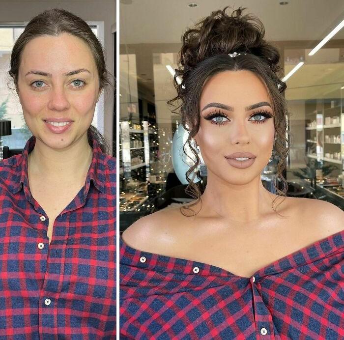 chica con camisa a cuadros rojos y azules ;Mujeres antes y después de ser maquilladas para su boda