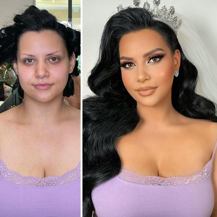 chica con blusa de tirantes ;Mujeres antes y después de ser maquilladas para su boda