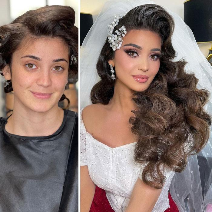 Chica con ondas y broche en el cabello ;Mujeres antes y después de ser maquilladas para su boda