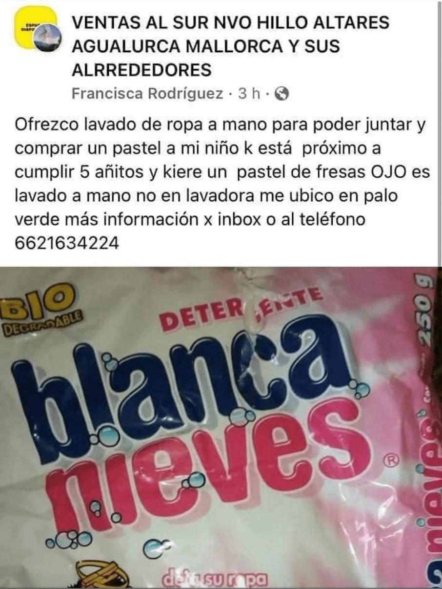 anuncio en Facebook; Ofrece lavar ropa para comprar un pastel de cumpleaños para su hijo
