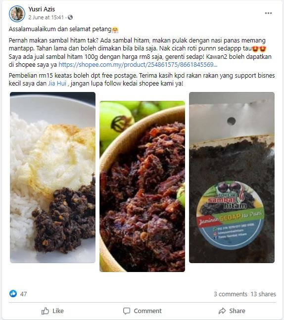 Pareja vende comida en línea después de quedar sin empleo