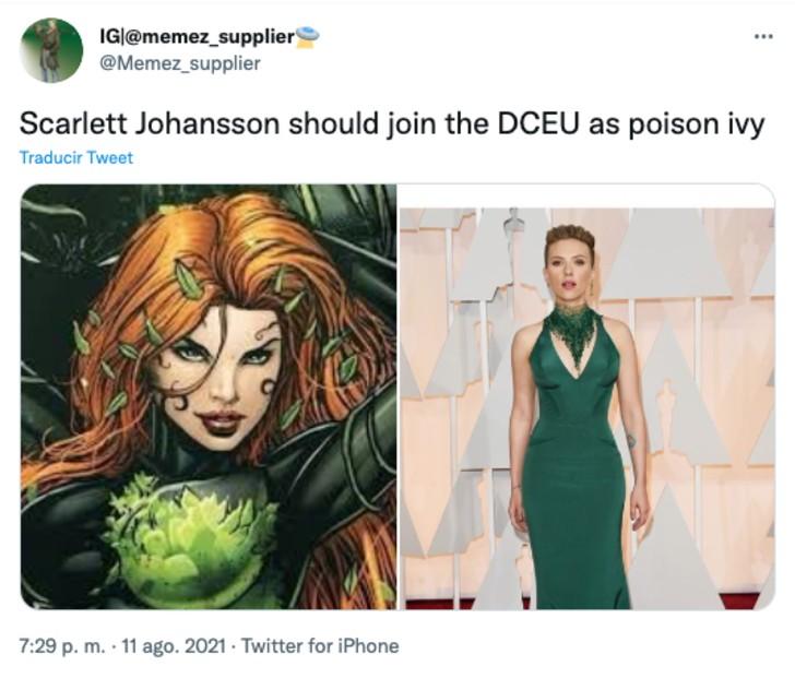 Comparación de Scarlett Johanson como hiedra venenosa
